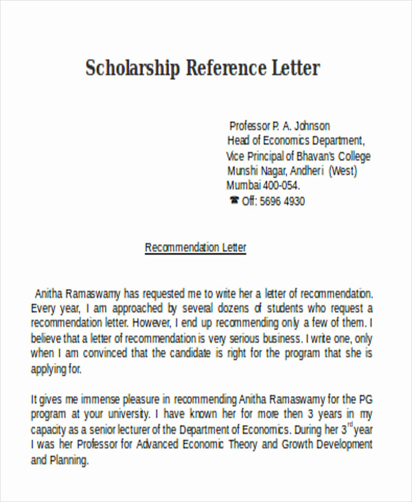 Letter Of Recommendation From Professor Lovely Scholarship Reference Letter Templates 5 Free Word Pdf