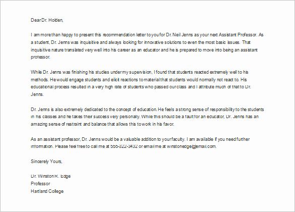Letter Of Recommendation From Professor Unique 10 Job Re Mendation Letter Templates Doc