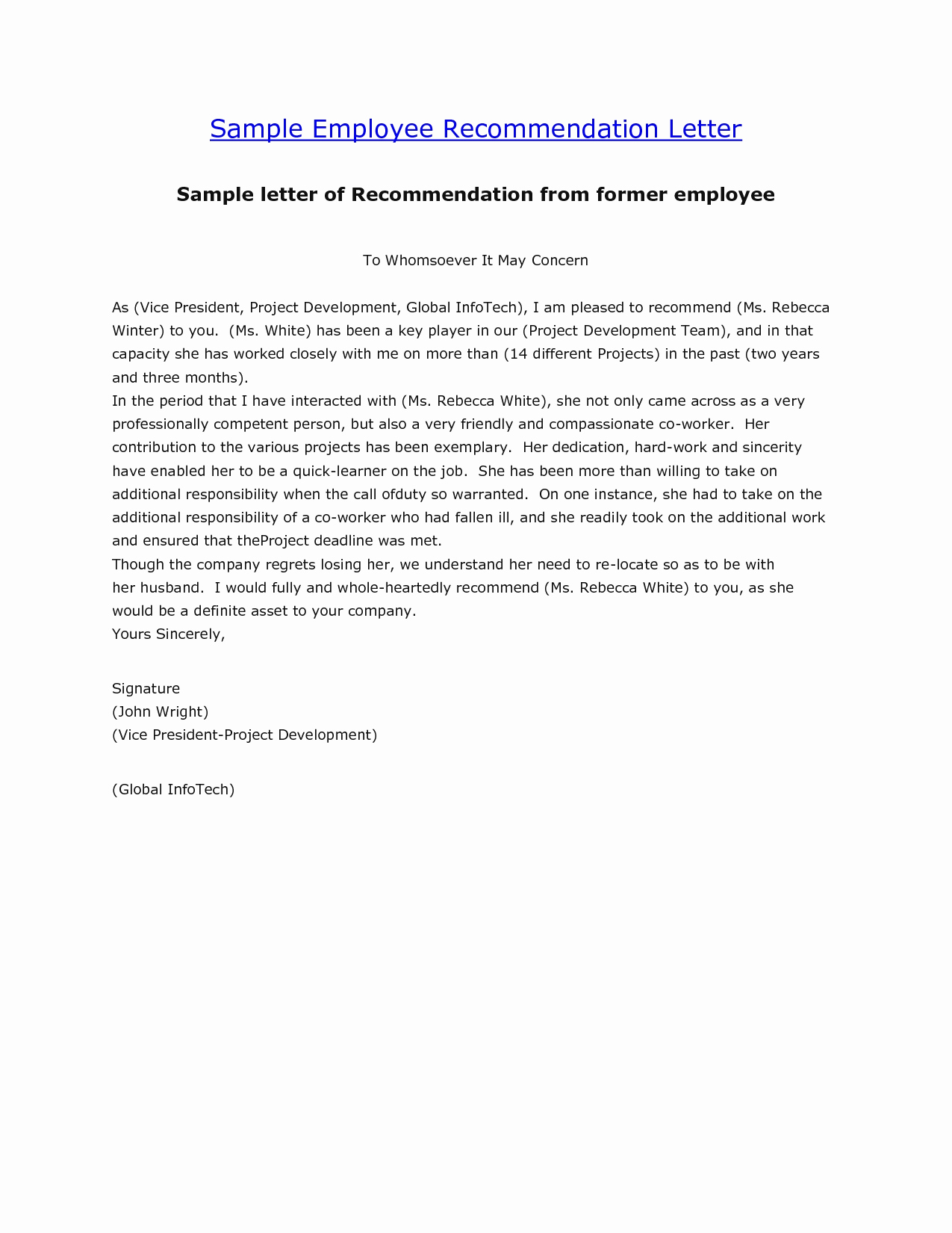 Letter Of Recommendation Outline Awesome [free] Letter Of Re Mendation Examples Samples