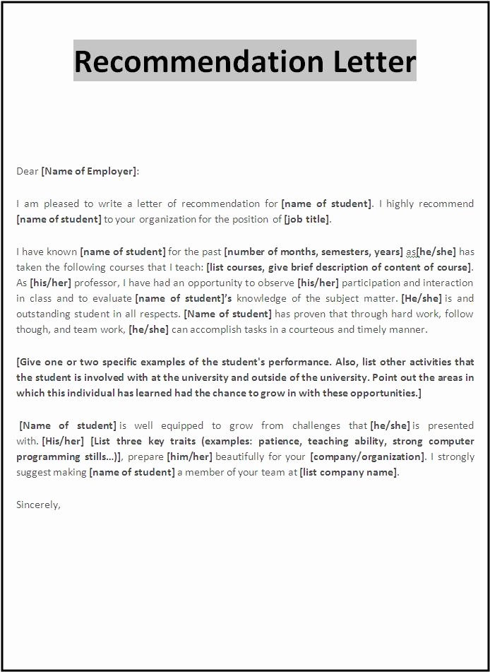 Letter Of Recommendation Outline Awesome Re Mendation Letter Template Re Mendation Letter