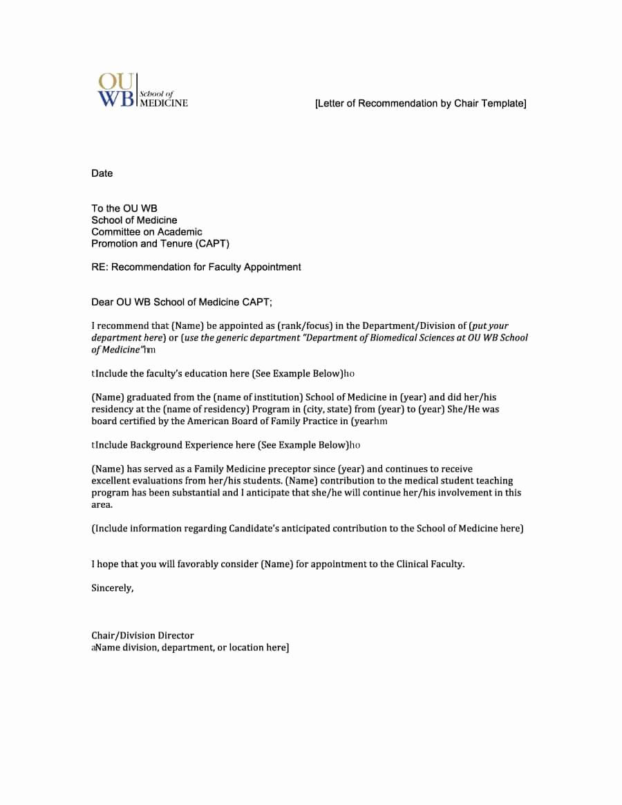 Letter Of Recommendation Outline Fresh 43 Free Letter Of Re Mendation Templates & Samples