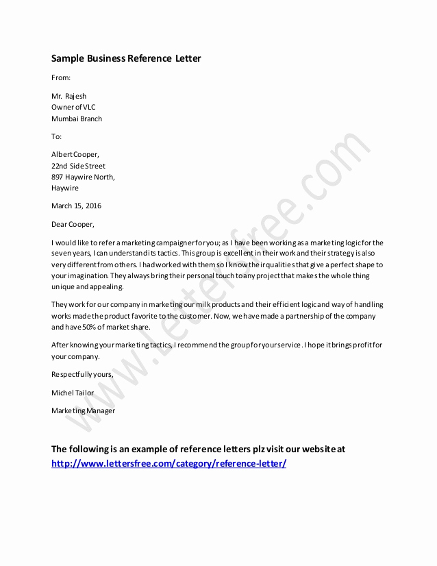 Letter Of Recommendation Templates Word Awesome Business Reference Letter Example