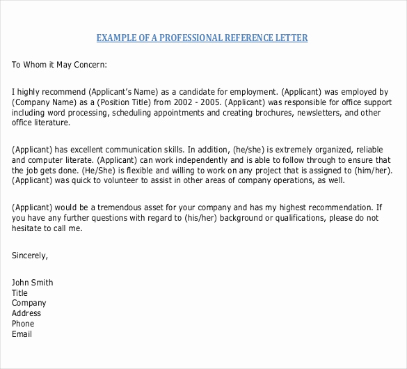 Letter Of Recommendation Templates Word Elegant Reference Letter Templates – 18 Free Word Pdf Documents