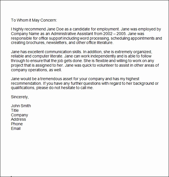 Letter Of Recommendation Templates Word Unique Sample Reference Letter 14 Free Documents In Word