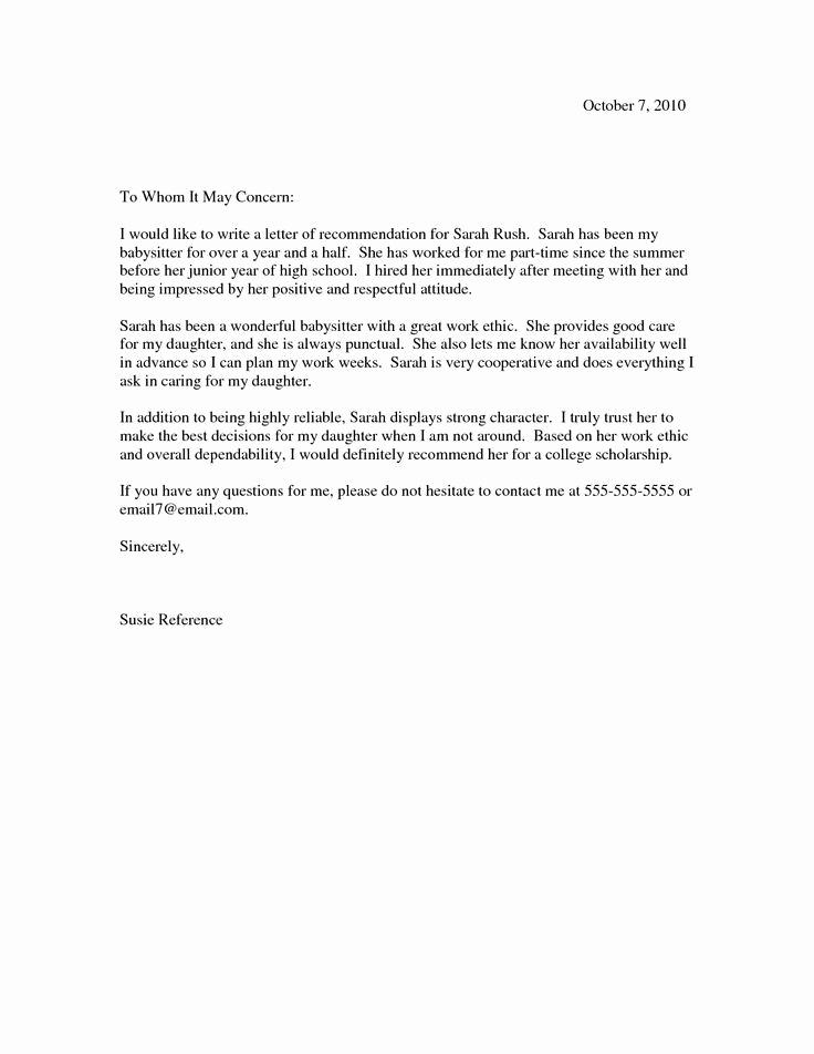 Letter Of Reference Example Elegant Scholarship Re Mendation Letter Scholarship