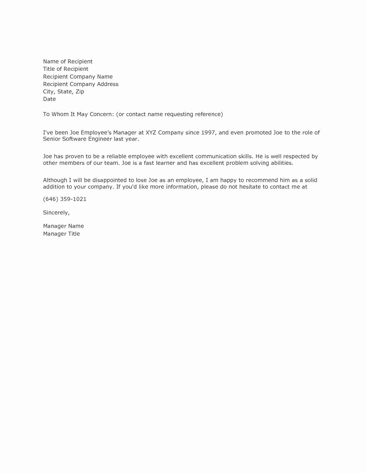 Letter Of Reference Example Inspirational Example Reference Letterexamples Of Reference Letters