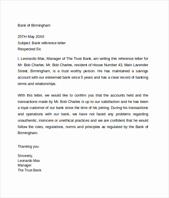 Letter Of Reference Example New Bank Reference Letter 5 Free Samples format & Examples