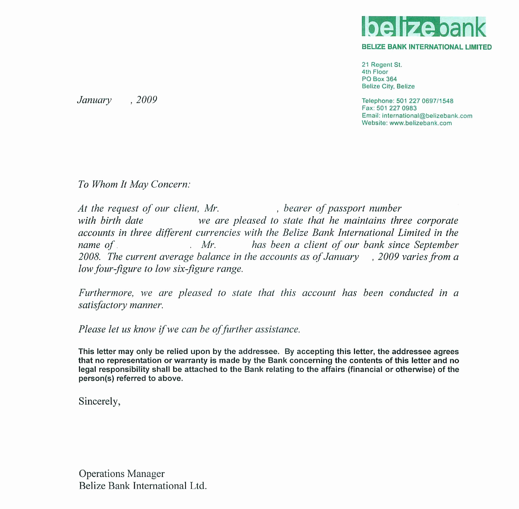 Letter Of Reference Example New Sample Bank Reference Letters