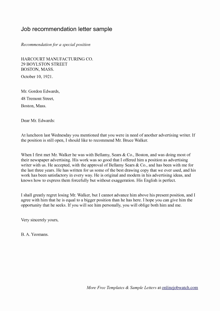 Letter Of Reference Example Unique Free Sample Re Mendation Letter for Job Template