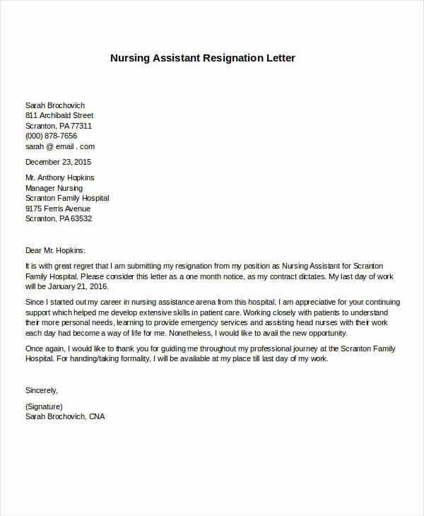 Letter Of Resignation Nursing Elegant 31 formal Resignation Letters