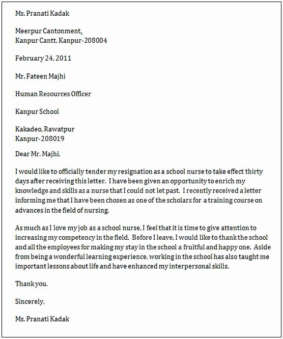 Letter Of Resignation Nursing Elegant Nursing Resignation Letter