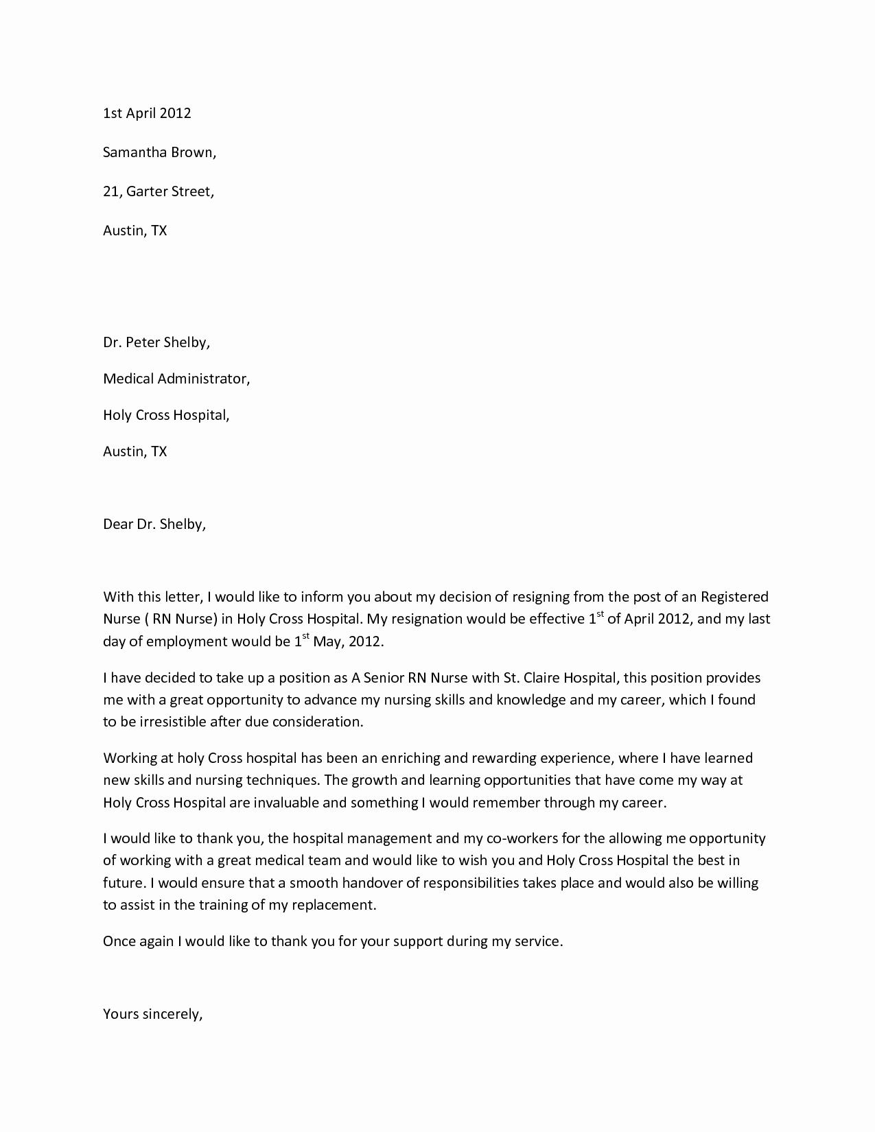 Letter Of Resignation Nursing Fresh Sample Resignation Letterwriting A Letter Resignation