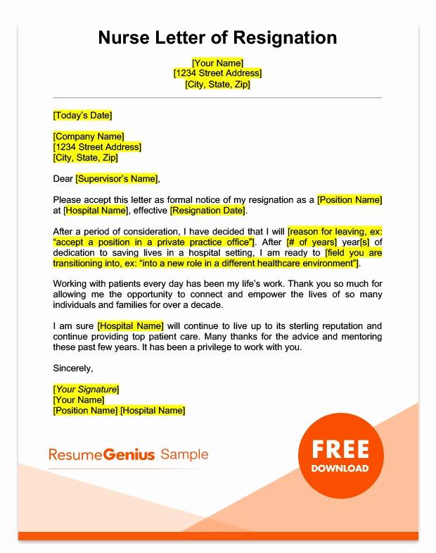 Letter Of Resignation Nursing Lovely Career Specific Resignation Letters