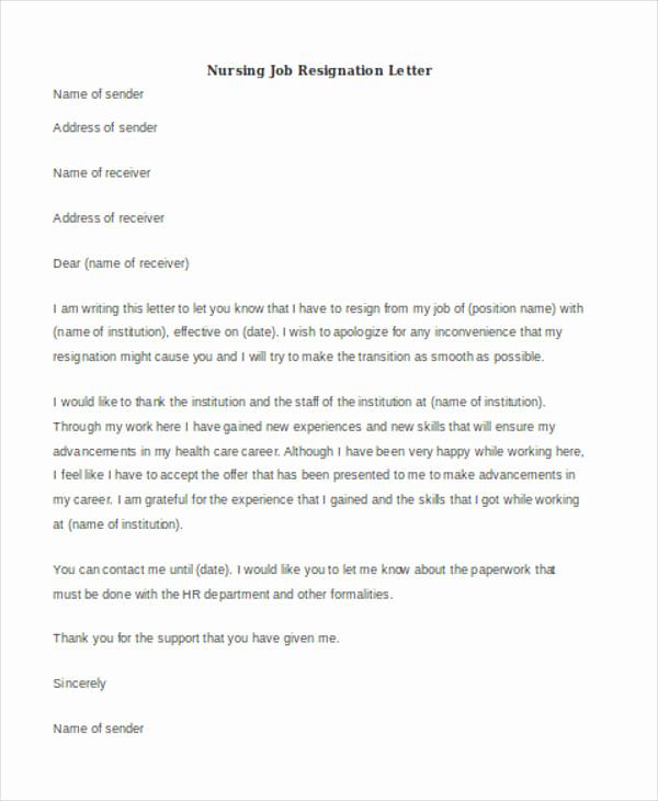 Letter Of Resignation Nursing Luxury 40 Resignation Letter Example