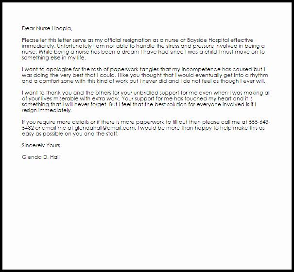 Letter Of Resignation Nursing Luxury Nurse Resignation Letter Example