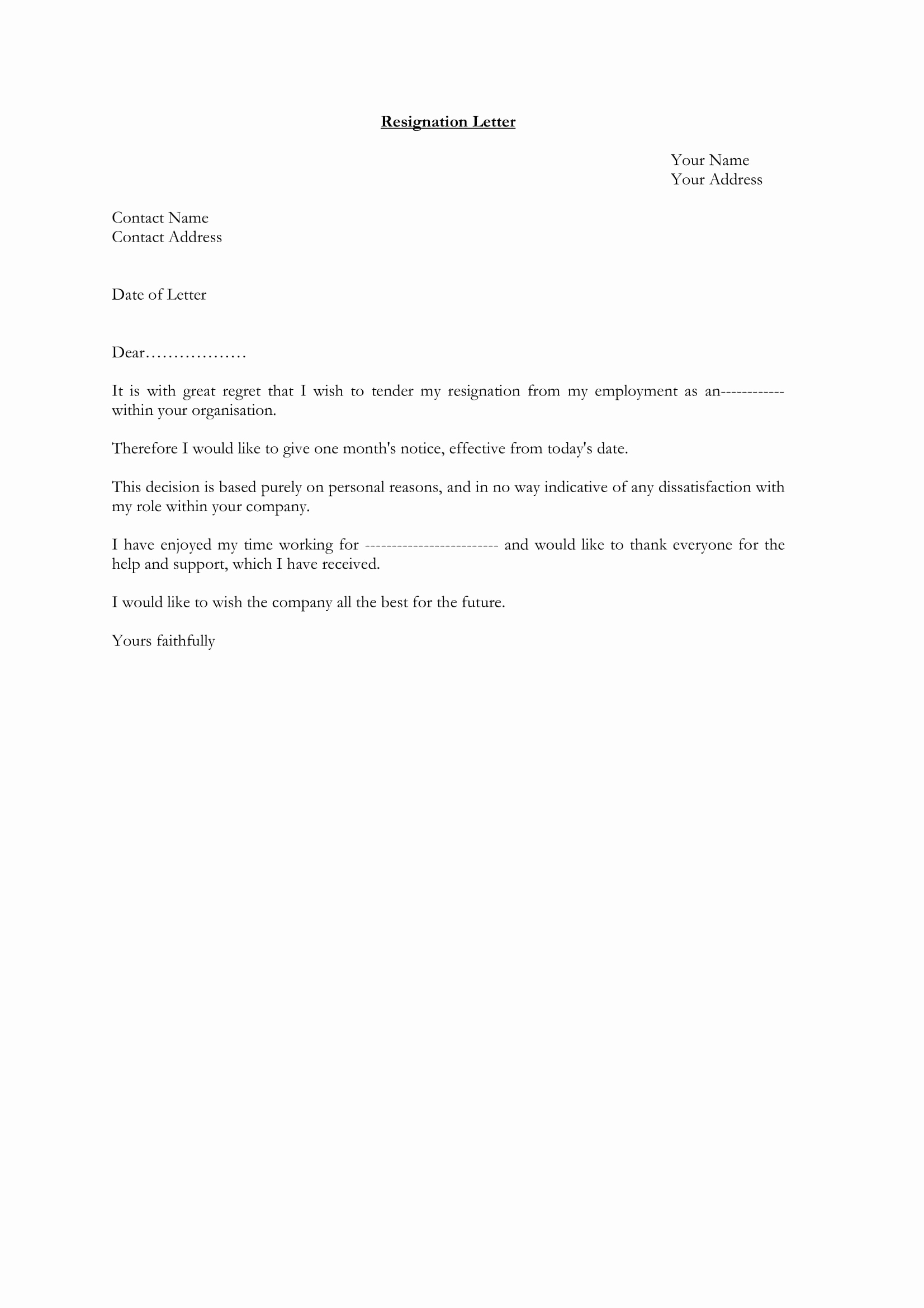 Letter Of Resignation Template Free Beautiful 25 Simple Resignation Letter Examples Pdf Word