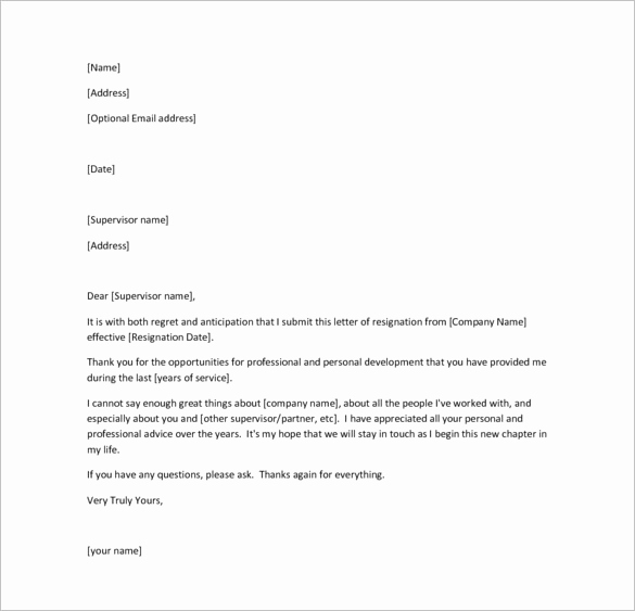 Letter Of Resignation Template Free Fresh 26 Resignation Letter Templates Free Word Excel Pdf