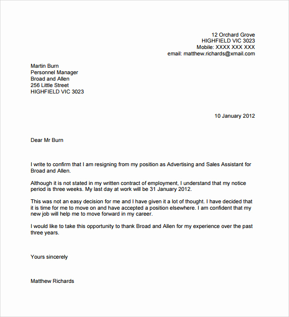 Letter Of Resignation Template Free New 11 Resignation Letters No Notice Pdf Word