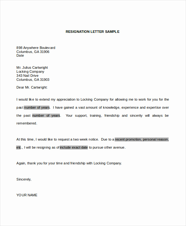 Letter Of Resignation Template Word Awesome 34 Resignation Letter Word Templates