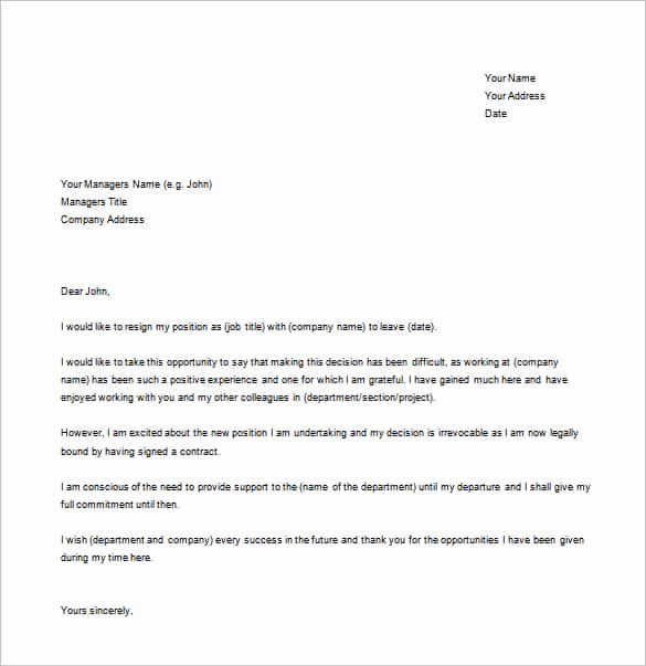 Letter Of Resignation Template Word Awesome Simple Resignation Letter