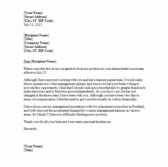 Letter Of Resignation Template Word Inspirational Resignation Letter Template