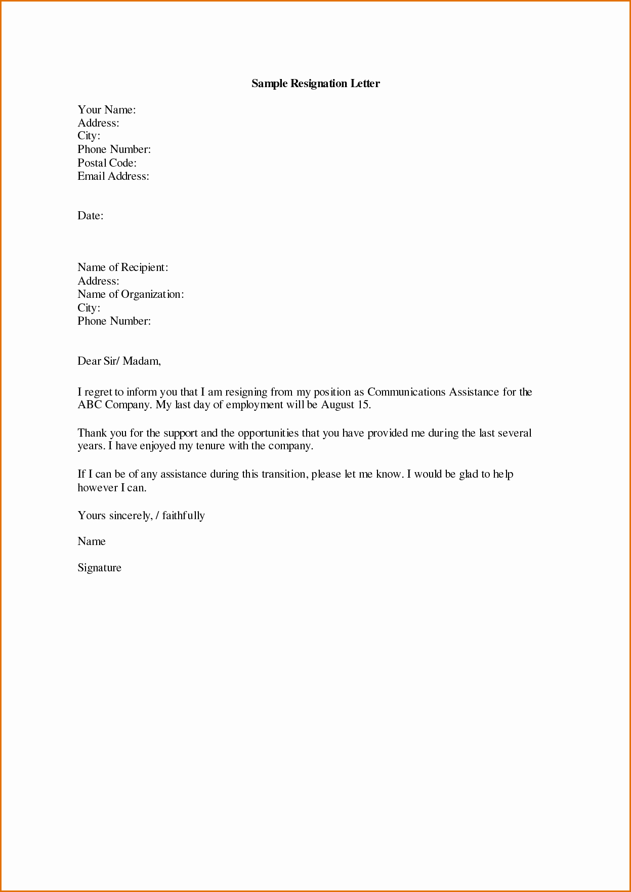 Letter Of Resignation Template Word Lovely Sample Displaying 16 Images for Letter Of Resignation