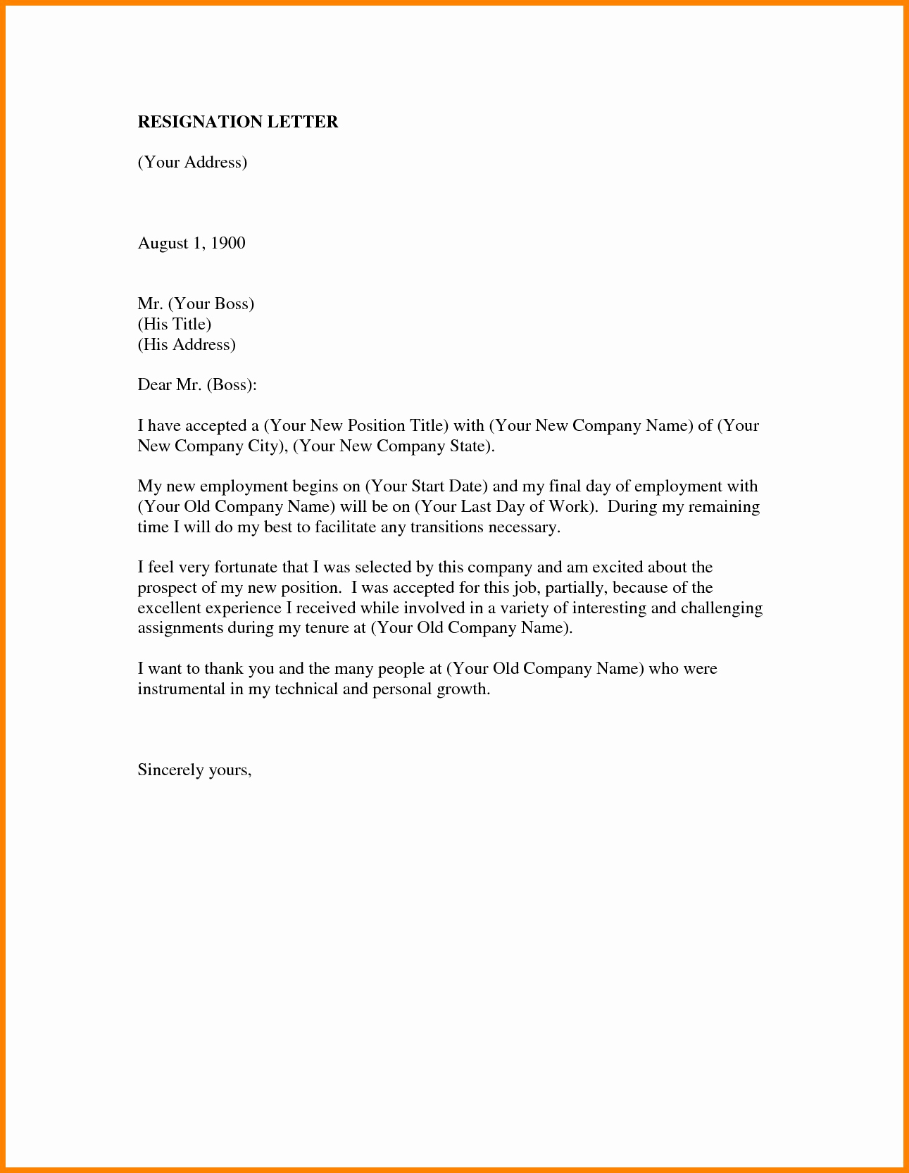 Letter Of Resignation Template Word Luxury Resignation Letter Template In Word format Fresh Job