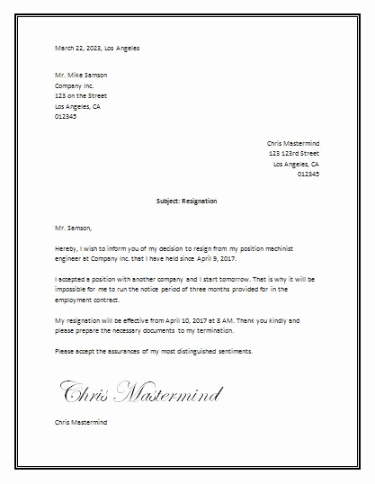 Letter Of Resignation Template Word Luxury Sample Resignation Letter Template Word