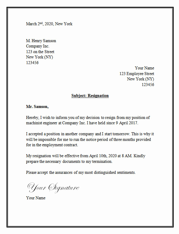 Letter Of Resignation Template Word New Resignation Letter Template – Resignation Letter
