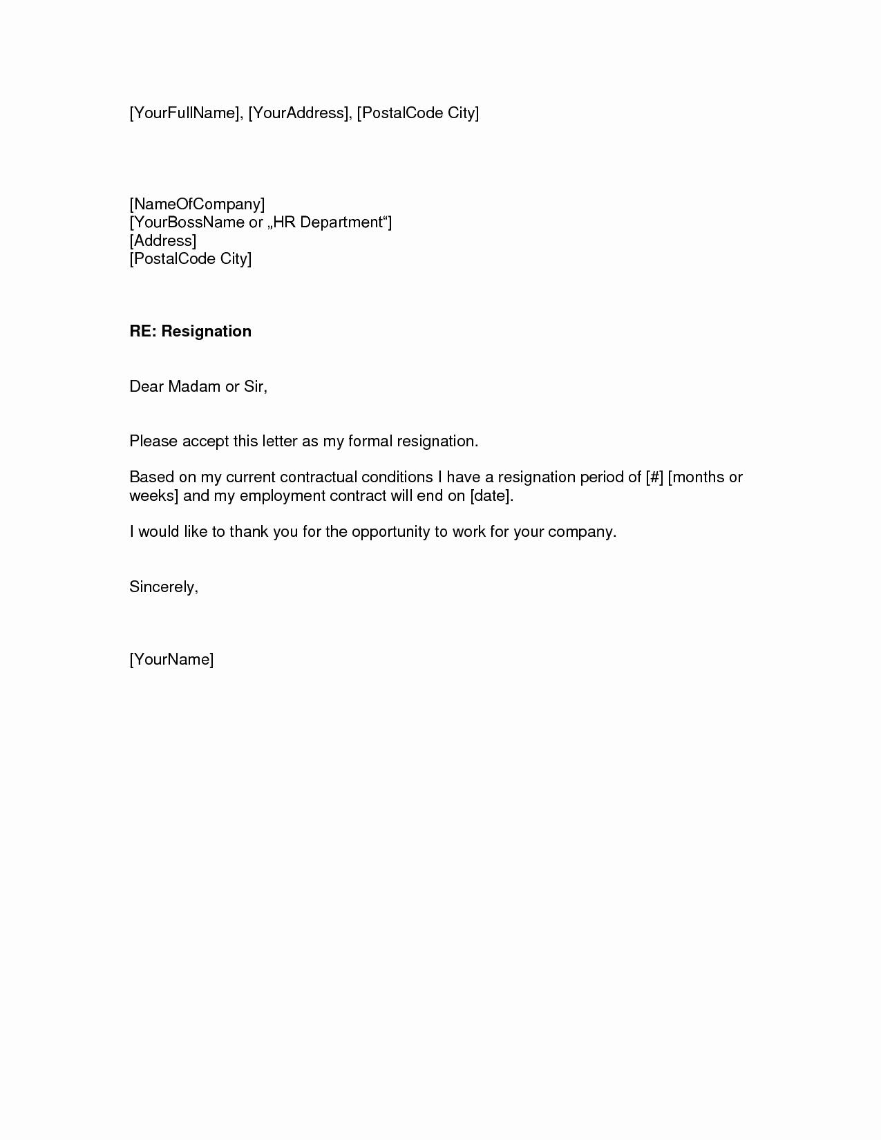 Letter Of Resignation Templates Elegant Two Weeks Notice Letter – Download Pdf Doc format