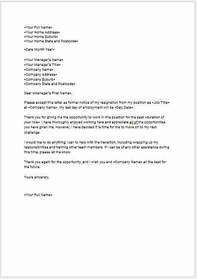 Letter Of Resignation Templates Luxury Download Seek S Free Standard Resignation Letter Template