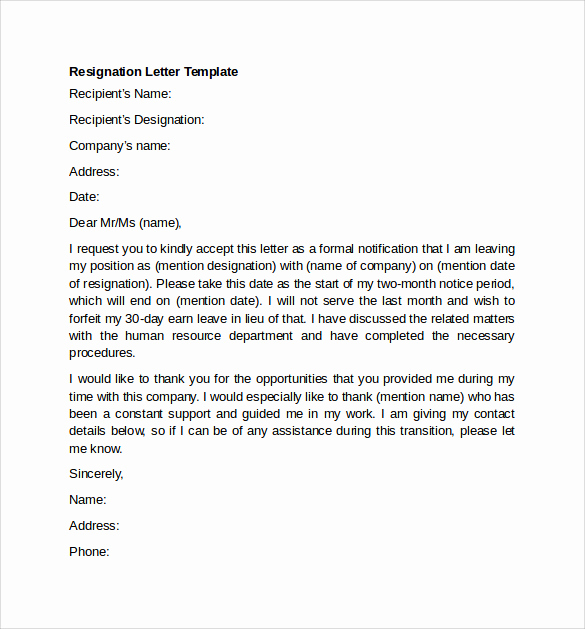 Letter Of Resignation Templates New Sample Resignation Letter Example 10 Free Documents