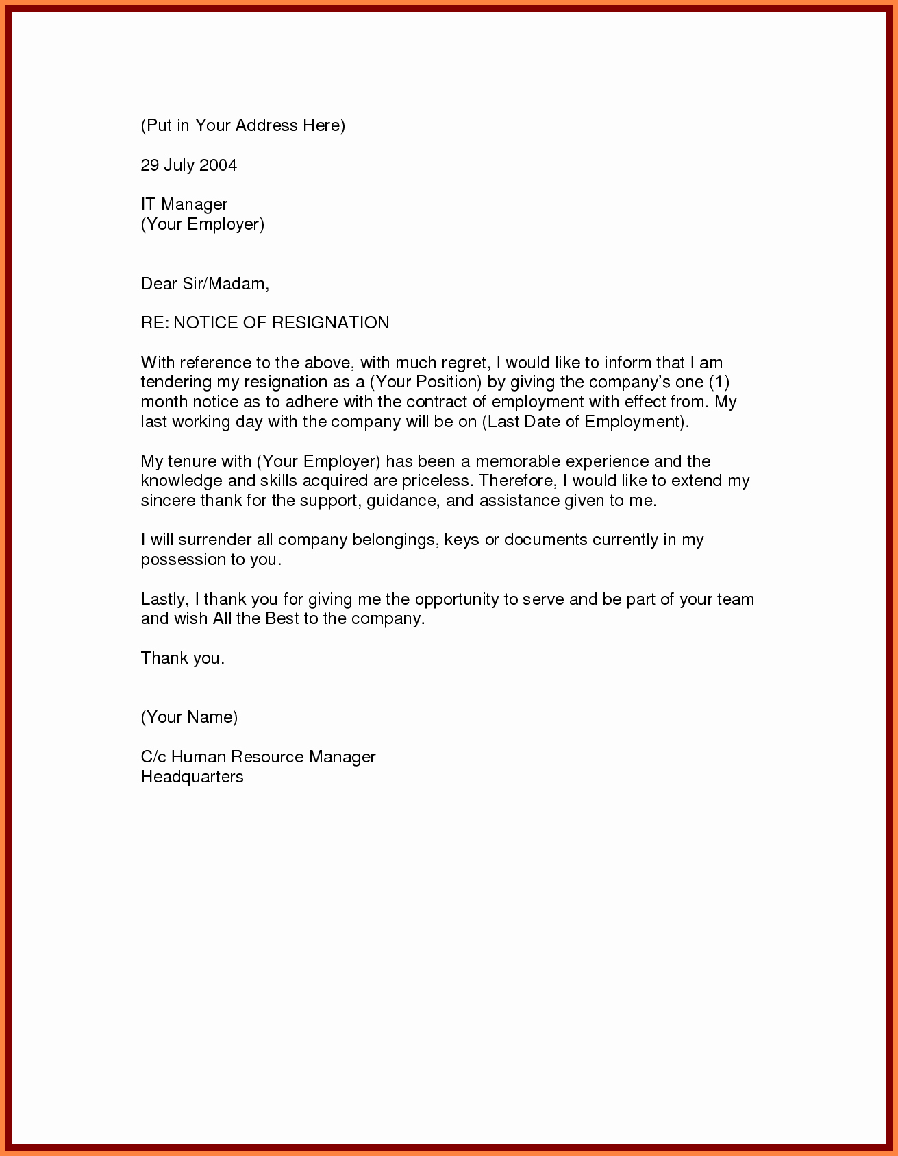Letter Of Resignation Templates Unique 9 Resignation Letter One Month Notice Period