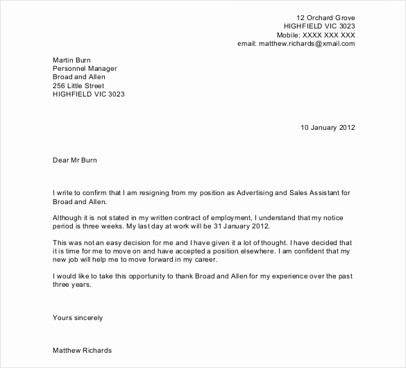 Letter Of Resignation Templates Word Beautiful 23 Resignation Letter Templates Free Word Excel Pdf