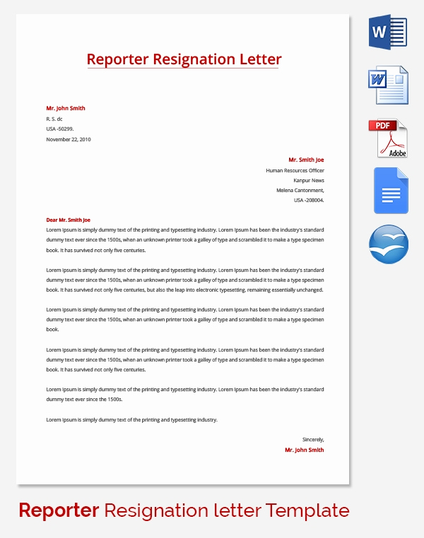 Letter Of Resignation Templates Word Beautiful Resignation Letter Template 25 Free Word Pdf Documents
