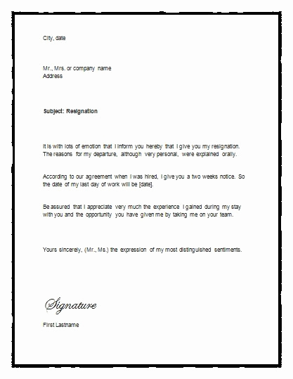 Letter Of Resignation Templates Word Elegant 5 Free Two Weeks Notice Letter Templates Word Excel