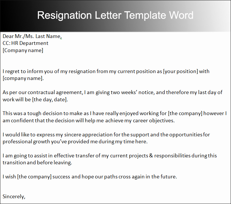 Letter Of Resignation Templates Word Lovely 40 Two Weeks Notice Letter Templates Free Pdf formats