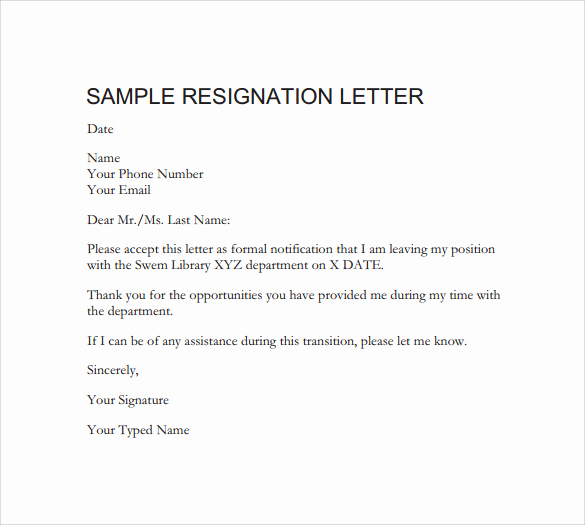 Letter Of Resignation Templates Word New formal Resignation Letter 40 Download Free Documents In