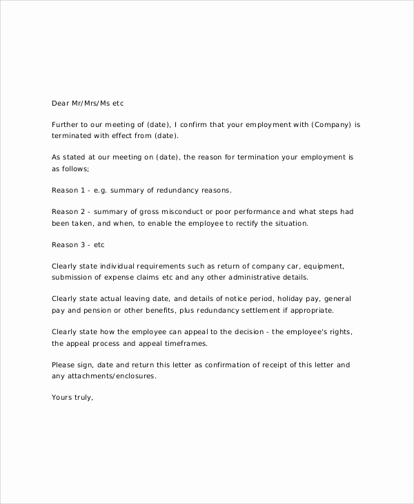 Letter Of Termination Of Employee Awesome 7 Sample Job Termination Letters