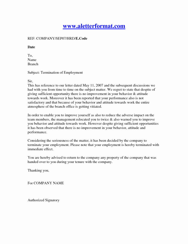 Letter Of Termination Of Employee Awesome Termination Employment Letter Recruit Line