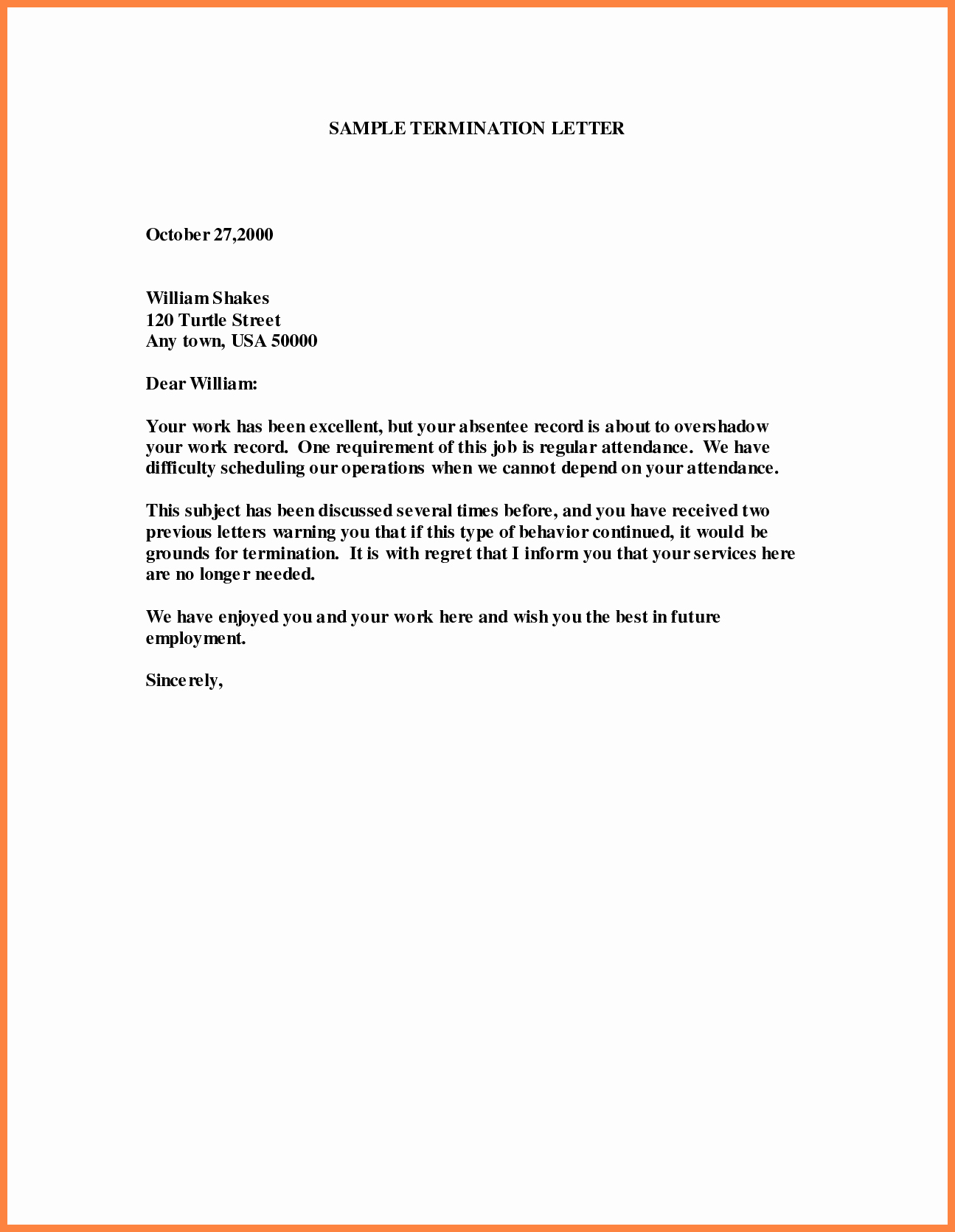 Letter Of Termination Of Employee Beautiful 6 Letter Of Termination Of Employment