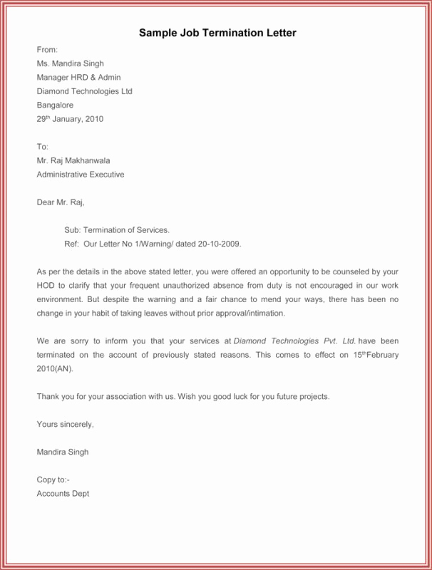 Letter Of Termination Of Employee Beautiful Letter Termination Employment