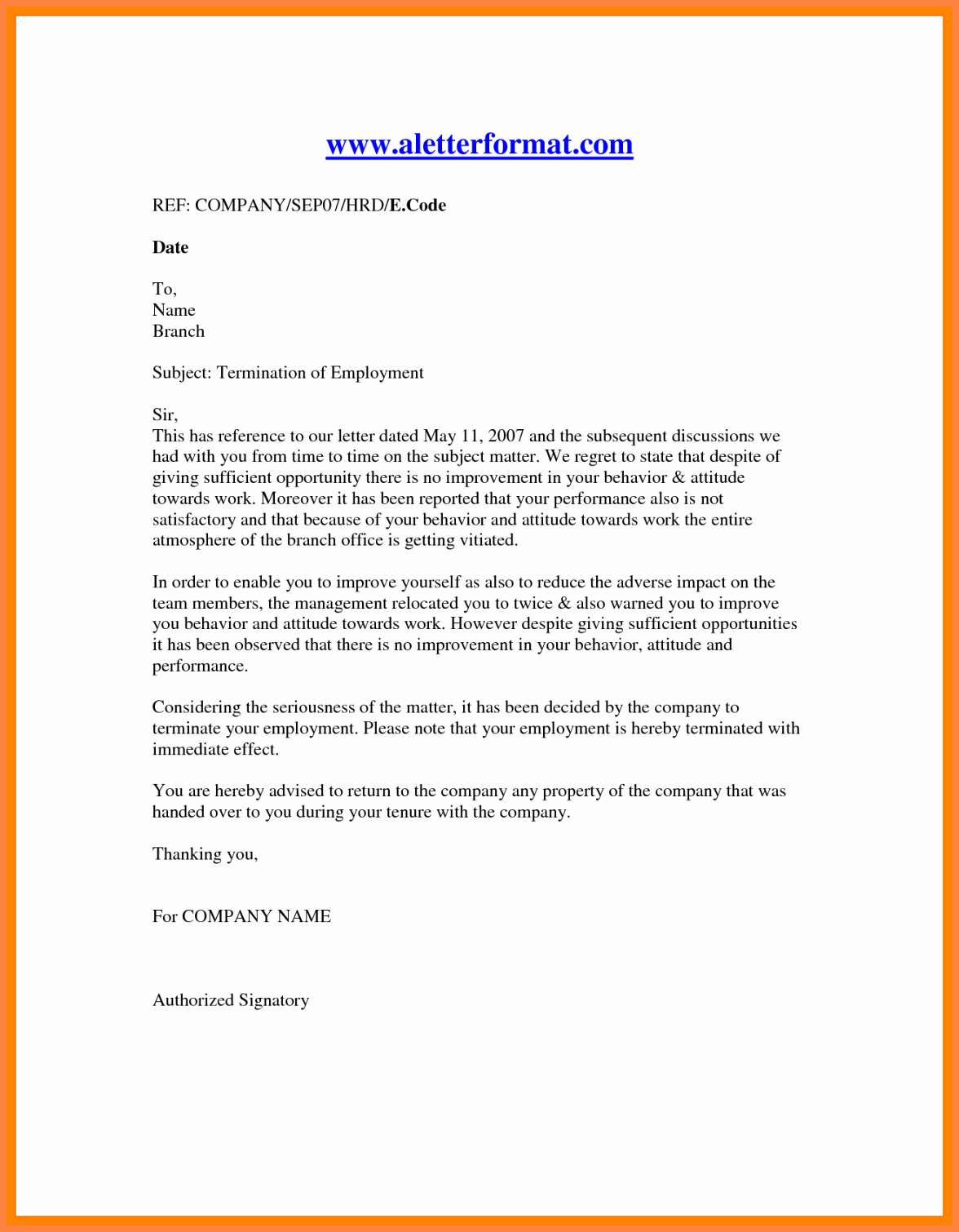 Letter Of Termination Of Employee Best Of 11 Employment Termination Notice Sample
