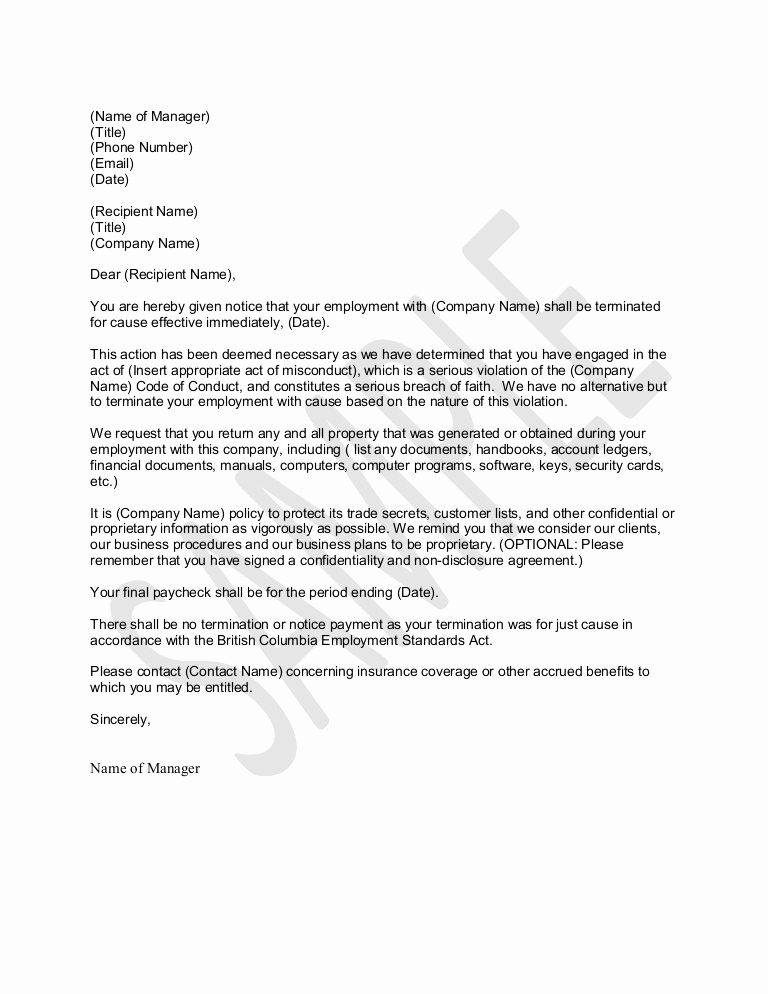Letter Of Termination Of Employee Best Of Sample Letter for Termination for Just Cause