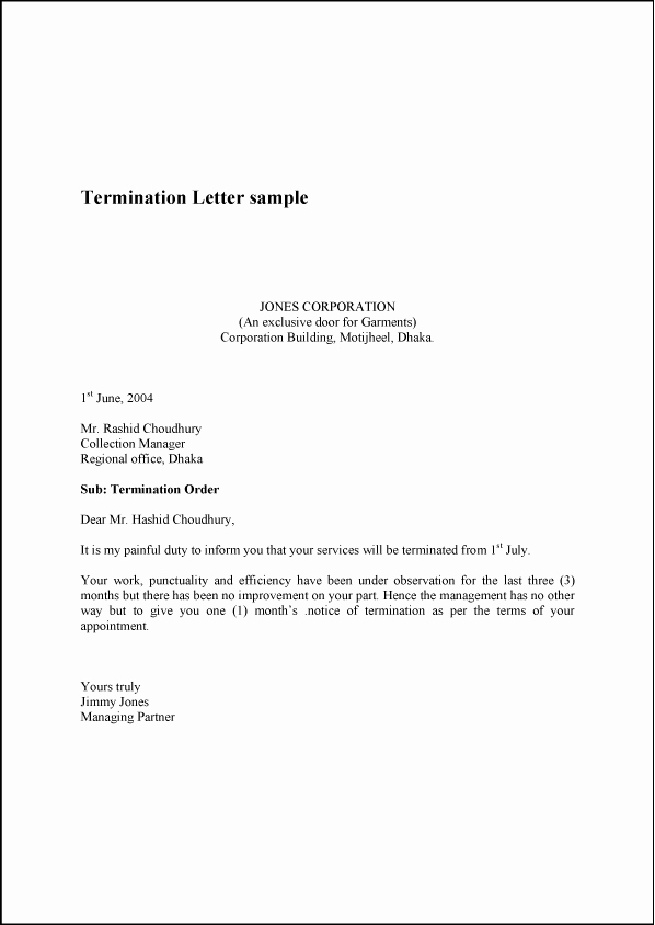 Letter Of Termination Of Employee Fresh Termination Letter
