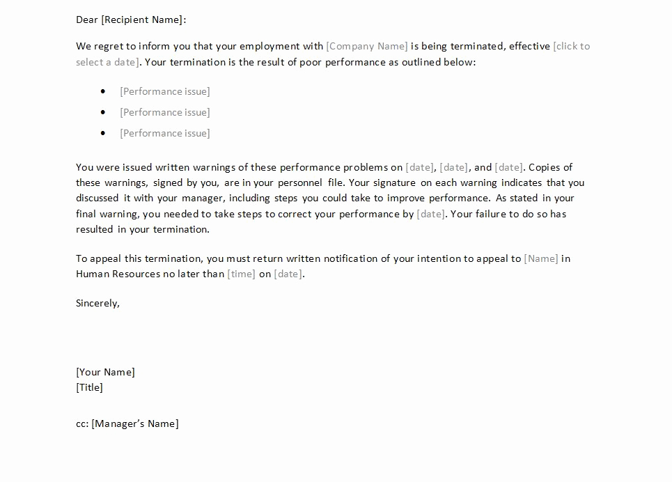 Letter Of Termination Of Employee Inspirational Termination Letter to Employee