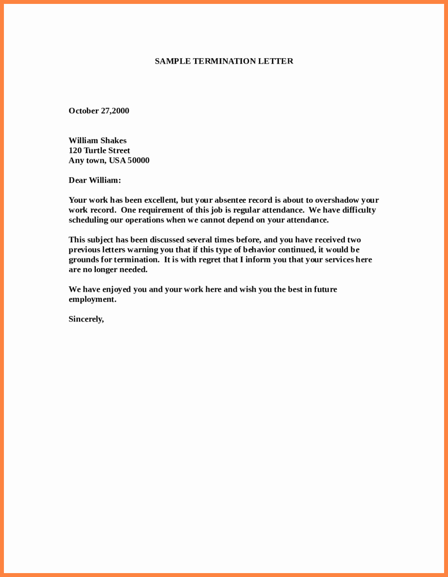 Letter Of Termination Of Employee Lovely 11 Employment Termination Notice Sample