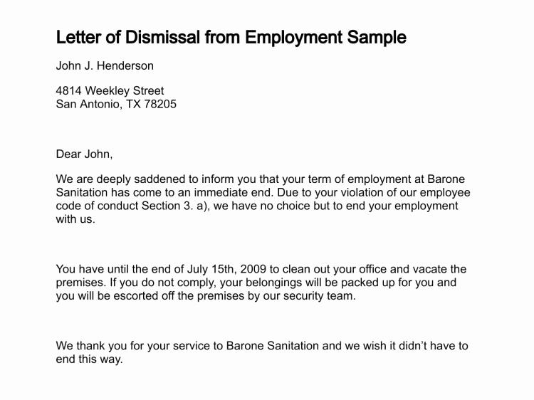 Letter Of Termination Of Employee Lovely Printable Sample Termination Letter Sample form