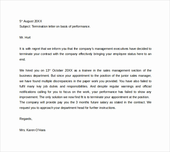 Letter Of Termination Of Employee Lovely Sample Termination Letter 14 Free Documents In Pdf Word