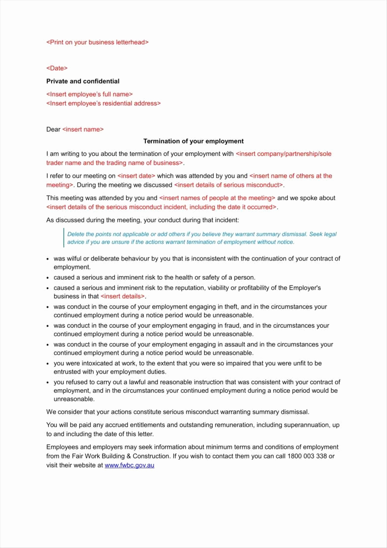 Letter Of Termination Of Employee Unique 9 Pany Termination Letters
